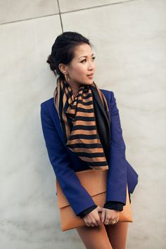 Honeycomb :: Black silk & Stripe scarf  (from wendyslookbook.com)