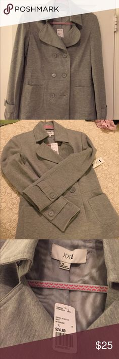 Forever 21 Gray blazer NWT gray jacket. Perfect addition to your closet! Pretty button detailing on sleeves. Front pockets. Size L never worn comes with extra button. Cotton/polyester blend. Hand wash . Will look super cute over tank with jeans & boots or heels. Forever 21 Jackets & Coats Blazers