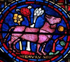 Cathédrale de Chartres, vitrail du signe du zodiaque du taureau