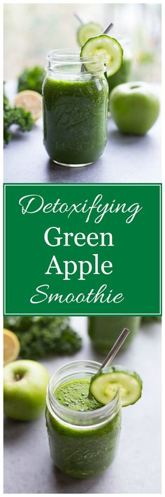Detoxifying Green Apple Smoothie- made with spinach, kale, green apple, cucumber, lemon and agave. Packed full of healthy nutrients and cleansing fiber to help you glow from the inside out. Happy November! I have a feeling this is going to be a good month. Because anything that starts with an extra hour is always a \u2026 #weightlosstips