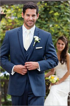 Britt's slate blue tux and vest. He will have a burnt orange tie, the groomsmen will have wine ties, and the dads and ushers will have gold ties. Blue Suit Wedding, Wedding Tux, Wedding Attire, Dream Wedding, Wedding Dresses, Wedding Decor, Wedding Ideas, Navy Orange Weddings, Blue Tux