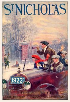 """Kittyinva: January, 1922 cover of """"St. Nicholas"""" magazine, blowing up a good New Year for you! Magazines For Kids, Vintage Magazines, Vintage Ads, Vintage Posters, Magazine Art, Magazine Covers, Dh Lawrence, Saint Nicholas, Nouvel An"""