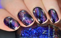 Simply Nailogical: Dark galaxy nails using ultra-chrome flakies ILNP Atlantis & Neon Rosebud