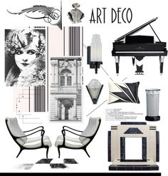 """Black and White Art Deco"" by hellodollface on Polyvore"