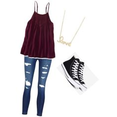 Back to school by logan-cooper on Polyvore featuring Aéropostale, J Brand, Converse and Sydney Evan