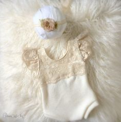 Newborn Neutral Lace Sweater Knit Romper Set baby by PetuniaandIvy