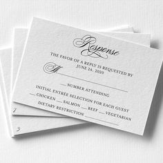It is Wedding Tip Tuesday! 💌 Number the back of your RSVP cards.  This will help when tracking your responses.  It is common for guests to be so excited, check off their response and forget to put their name.  The number on the back of the card will help you to know exactly which guest it is. Business Events, Papers Co, Wedding Tips, Rsvp, No Response, Tuesday, Initials, Forget, Stationery