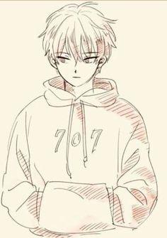 Anime boy pencil sketch..
