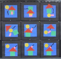 A first lesson in Kindergarten composing a page of colorful shapes