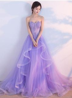 Charming Lilac Tulle Elegant Gown, Prom Gowns, Elegant Party Dresses in 2020 Prom Dress Black, Lilac Prom Dresses, Lilac Dress, Homecoming Dresses, Evening Dresses, Dress Long, Wedding Dresses, Gown Wedding, Bridal Gown