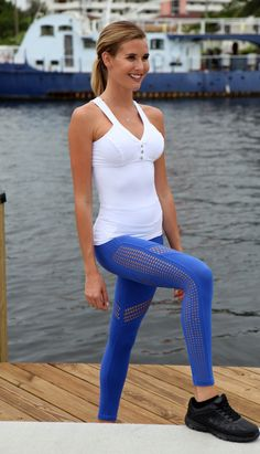 Royal Blue Mesh Workout Gym Legging | Equilibrium Active