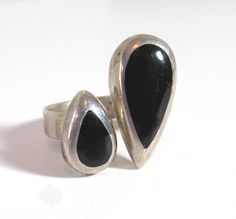 Sterling Silver Double Teardrop Ring by MullerGlass on Etsy