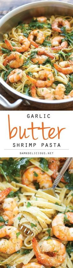 Superb Garlic Butter Shrimp Pasta — An easy peasy pasta dish that's simple, flavorful and incredibly hearty. And all you need is 20 min to whip this up! The post Garlic Butter Shrimp Pasta — . Fish Recipes, Seafood Recipes, Great Recipes, Cooking Recipes, Healthy Recipes, Recipies, Simple Recipes, Recipes Dinner, Broccoli Recipes