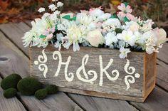 Personalized Wood Centerpiece Flower Vase Flower Box Table Decorations Reception Decor Rusitc Chic Wedding Rustic Table Box. $65.00, via Etsy.