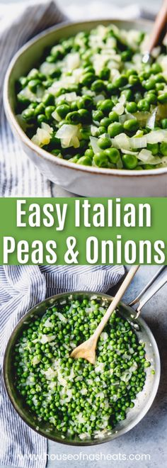 This easy Italian Peas recipe is simple and quick for a weeknight dinner but special enough to serve with your holiday meal. Fresh or frozen peas get a flavor boost from chopped onions and garlic in this wonderful, simple side dish. Easy Vegetable Side Dishes, Side Dishes For Chicken, Best Side Dishes, Vegetable Sides, Veggie Dishes, Side Dish Recipes, Veggie Recipes, Healthy Recipes, Italian Side Dishes