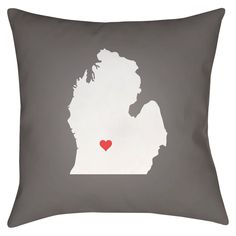 Gray State of the Heart Michigan Throw Pillow
