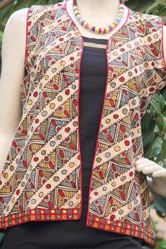 Hand Painted Kalamkari Jacket- S | India1001.com