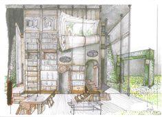"""Boceto de escenografía: """"La Avería"""". Premio Max 2011. Theatre, Sketch, Urban, Art, Theatres, Theater"""
