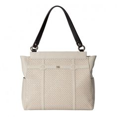 Cream embossed woven faux leather with cream piecing; Base bag and handles not included. Thirty One, Diaper Bag, Pocket, Leather, Bags, Handbags, Diaper Bags, Totes, Lv Bags