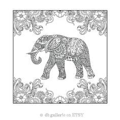 Henna Elephant in garden print - adult coloring poster by dbgallerie on Etsy