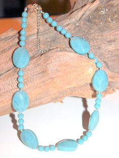 Retro Chunky Teal Blue Swirl  Lucite Necklace by AntiqueAlchemists, $19.00