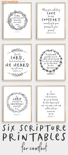 Six Scripture Printables for Comfort | These six printables are perfect for times where comfort is needed. Each are 8x10 prints.