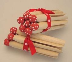 hand painted red spot vintage pegs · bespoke ♥ country