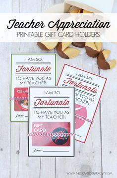 Teacher Appreciation Printable Gift Card Holders