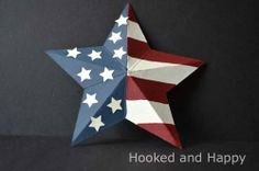 3D Cereal Box Star by hookedandhappy: Happy July 4th! #Crafts #Star #Cardboard #Upcycle #July_4