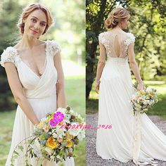 2016 Summer Boho Lace Wedding Dresses with Deep V-Neck Short Sleeves Backless 3D-Floral Appliques Chiffon Long Beach Bohemian Bridal Gowns Online with $136.91/Piece on Xiaoxiao_2016's Store | DHgate.com