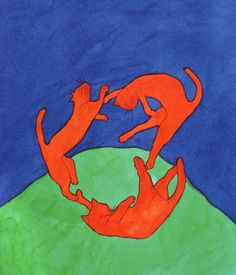 History of Art: cats in art - This recently discovered study is thought to be by the French painter Henri Matisse. This strange work featuring three linked cats, which shocked critics when it appeared in 1905, is believed by some to have been inspired by the three witches in Shakespeare's Macbeth. According to an ex-neighbour of Matisse, who wishes to remain anonymous, it was, however, the result of a drunken bet. This is his story.