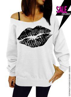 "Use coupon code ""pinterest"" Lipstick Kiss - Valentine's Day - White with Black Slouchy Oversized Sweatshirt by DentzDenim"