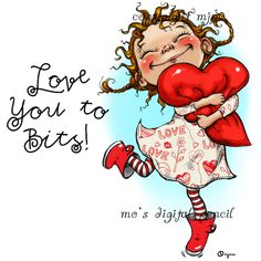digital stamps for papercrafters Valentine Day Love, Vintage Valentines, Mo Manning, Heart Pillow, Mo S, Digi Stamps, Whimsical Art, Cute Illustration, Cute Cartoon