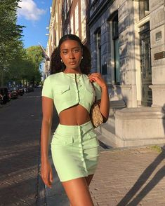 """DOJA on Instagram: """"sorry for not responding, i was too busy denying reality  @revolve #revolvesummer"""" Stylish Outfits, Cool Outfits, Fashion Outfits, 90s Fashion, Black Women Fashion, Green Fashion, Skirt Outfits, Couture Fashion, Personal Style"""