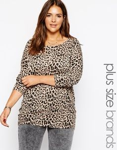 New Look Inspire Animal Print Knitted Tunic