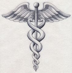 Caduceus-MEDICAL-SYMBOL-SKETCH-SET-OF-2-HAND-TOWELS-EMBROIDERED-by-laura