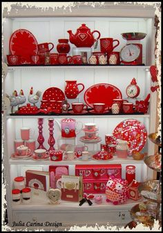 my cottage style- handmade pottery from sofieshome.com I See Red, Handmade Pottery, Handmade Ceramic, Ceramic Pottery, Cottage Style, Light Colors, Tea Pots, Red And White, Shabby Chic