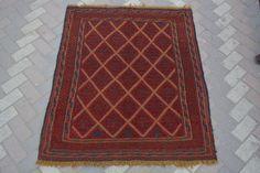 Handmade Afghan Tribal Vintage Mushvani Kilim Square Rug 4'6x3'10 Antique Kilim #Handmade #Tribal