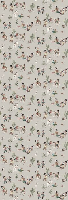 Lilleby Kids  (2693) - Boråstapeter Wallpapers - A charming retro American style cowboy wallpaper design with cute cartoon characters in faded colours on a grey background - supplied as a single panel wallcovering in one length, 90cm wide and 265cm long. Paste the wall. SAMPLES NOT AVAILABLE.