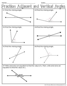 Adjacent and Vertical Angles Notes by To the Square Inch- Kate Bing Coners   Teachers Pay Teachers