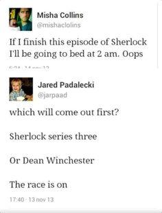 Oh my - Supernatural - Jared Padalecki, Misha Collins, Jensen Ackles. Sherlock Holmes, Sherlock Series, Watch Sherlock, Sherlock Season, Sherlock Quotes, Sherlock John, Misha Collins, Jensen Ackles, Superwholock