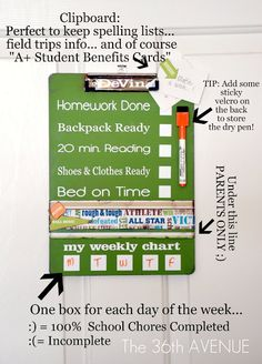 Getting ready at the end of summer for Back to SCHOOL: Dry Erase Clip Board. | The 36th AVENUE