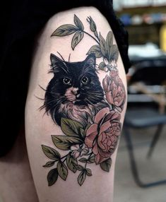 So happy to make this colour piece and pet portrait piece for Madeline! Thanks for coming from Brisbane and Thankyou for sitting like a… Portrait Tattoo Sleeve, Cat Portrait Tattoos, Pet Portraits, Sleeve Tattoos, Black Cat Tattoos, Animal Tattoos, Pet Tattoos, Tigh Tattoo, Dream Tattoos