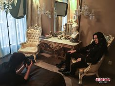 Having fun at the shoot ;) Check out our Gothic fantasy christmas lookbook ;) www.attitudeholland.nl