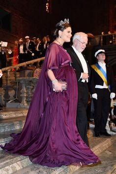 Crown Princess Victoria of Sweden and Nobel Prize in Physics, Professor Emeritus Arthur B. McDonald arrive at the Nobel Prize Banquet 2015 at City Hall on December 10, 2015 in Stockholm, Sweden.