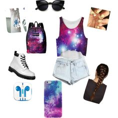 Galaxy by graceoured on Polyvore featuring polyvore, fashion, style, Dr. Martens, JanSport and PhunkeeTree