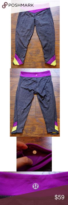 Lululemon Half Moon Crops Charcoal Potion Lime 2 Excellent lightly used condition. Size 2. Heathered gray with purple and lime accents. Official color is Static Charcoal/Potion/Lime. Luon fabric. Very light sueding on waistband, not yet pilling. Light pilling in crotch, bc of color you can't tell. Flattering V shaped waistband in front. Articulated knees. Slight cracking in logo. lululemon athletica Pants Leggings