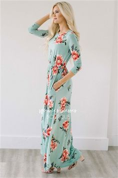 Our super soft floral dresses just got a make over! Now coming in floor length, this maxi dress is as pretty and comfortable as they come! Mint maxi dress features a cute pink floral print, elastic waist, length sleeves and front pockets. Modest Dresses Casual, Modest Bridesmaid Dresses, Casual Skirt Outfits, Modest Outfits, Pretty Outfits, Stylish Outfits, Dress Outfits, Cute Outfits, Bridesmaids