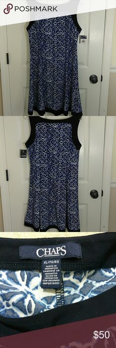 "Chaps Sleeveless Fit and Flare Dress XL Chaps by Ralph Lauren Women's Fit & Flare Dress  Navy Blue & White  Size: XL   Chest: 20""  Waist: 18""  Length: 36""  Retail $95  PRODUCT FEATURES  · Contrasting trim  · Squareneck  · Sleeveless  · Stretchy jersey construction  · Unlined   FIT & SIZING   · 36"" approximate length from shoulder to hem   · Fit & flare design with princess seams   FABRIC & CARE   · 95 % Polyester, 5% Elastane   · Machine wash Thank you! Chaps Dresses Midi"