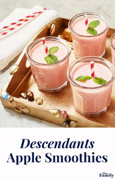 """Create a Descendants 2 viewing party with all the wicked charm. Whip up an Evie-approved smoothie with this healthy recipe. Add an apple touch with mint """"leaves"""" and straw """"stems."""" Click for more Descendants recipes, and inspiration for your next Disney party. Smoothie Fruit, Apple Smoothies, Healthy Smoothies, Smoothie Recipes, Disney Inspired Food, Disney Food, Comida Disney, Cooking Recipes, Healthy Recipes"""